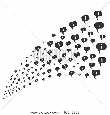 Stream of about icons. Vector illustration style is flat gray iconic about symbols on a white background. Object fountain done from pictographs.