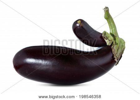 Mutation plant eggplant or aubergine vegetable isolated on white background cutout