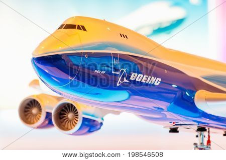 Exhibition Models Boeing Aircraft 747. Russia, Moscow. July 2017