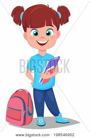 Back to school. Cute redhead girl with book in casual clothes stands near schoolbag. Pretty little schoolgirl. Cheerful cartoon character. Vector illustration