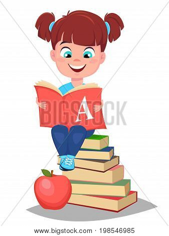Back to school. Cute girl holding primer and sitting on a stack of book. Pretty little schoolgirl. Cheerful cartoon character. Vector illustration