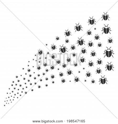 Stream of bug icons. Vector illustration style is flat gray iconic bug symbols on a white background. Object fountain made from design elements.