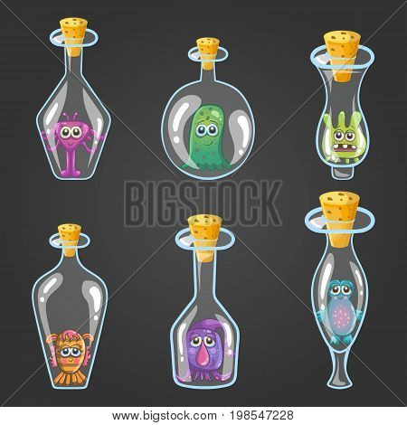 Big set of bottle elixir with monsters. Game design illustration