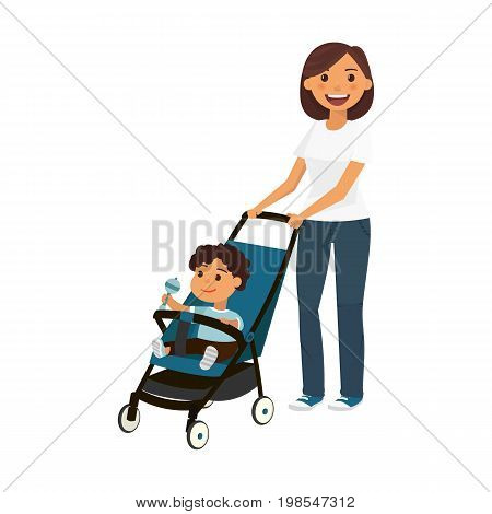 Cartoon young mother with boy in perambulator, vector illustration
