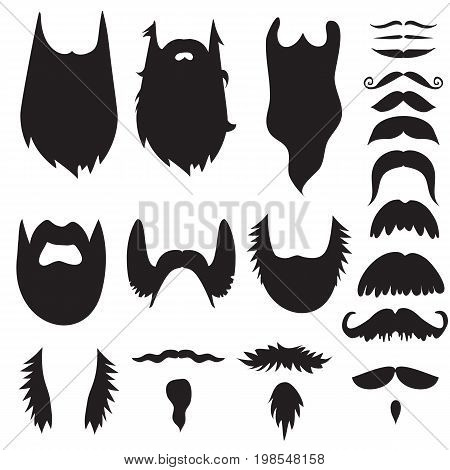 Hand drawn black mustache silhouette set. Vector Illustration.