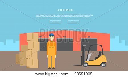 transportation of cargo logistics center. Goods delivery. Warehouse with loading truck and working forklift. Modern flat style vector illustration