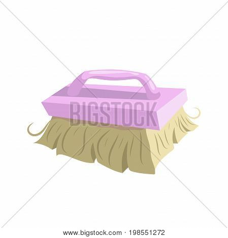 Cartoon vintage trendy icon of cleaning bristle brush. Housework vector simple gradient icon. Pink handle.