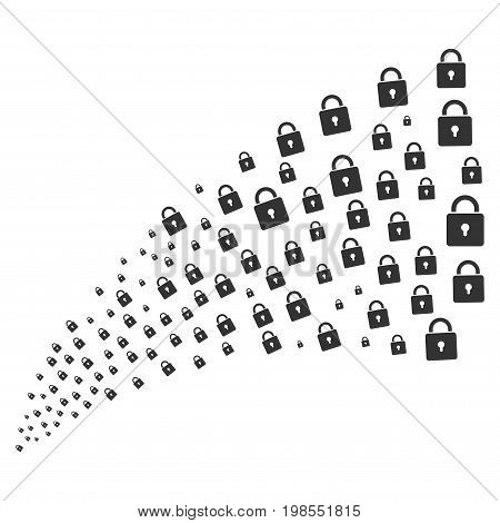 Source stream of lock icons. Vector illustration style is flat gray iconic lock symbols on a white background. Object fountain organized from symbols.