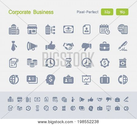 Corporate Business | Granite Icons - 28 professional pixel-perfect vector icons designed on a 32x32 pixel grid and redesigned on a 16x16 pixel grid for very small sizes. Corporation, business and economy concepts.