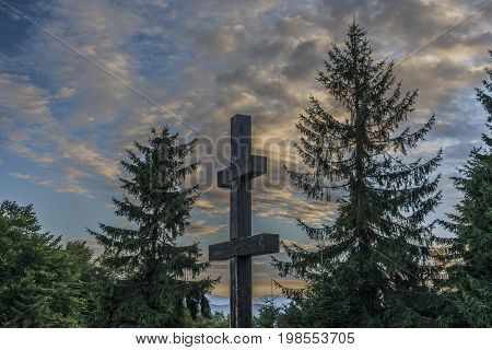 Cross on Velky Javornik hill in Slovakia summer morning