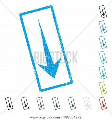 Arrow Down rubber watermark in some color versions.. Vector pictogram symbol inside rounded rectangular frame with grunge design and scratched texture. Stamp seal illustration, unclean emblem.