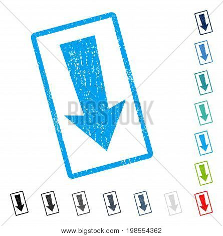 Arrow Down rubber watermark in some color versions.. Vector pictogram symbol inside rounded rectangle with grunge design and dirty texture. Stamp seal illustration, unclean sign.