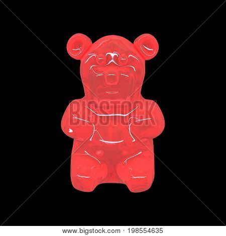 3D illustration of gummy bear candy, jelly bear