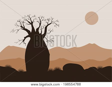 Baobab tree landscape with mountains background. Baobab silhouette. African sunrise. Vector illustration