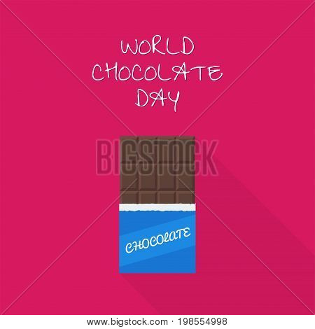 A chocolate bar in a flat style.World Chocolate Day. Icon of the chocolate. Vector illustration.