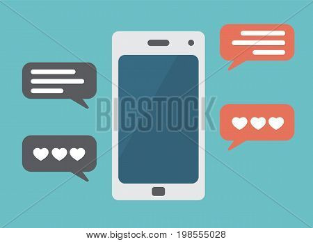 colorfull mobile phone illustration with love messages