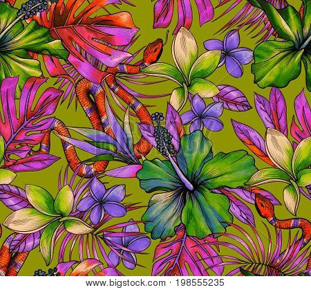 vibrant tropical pattern with exotic flowers, vipers snakes and amazing detailed botanical watercolor illustrations. seamless design. poster