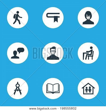 Elements Devider, Literature, Pupil And Other Synonyms Narrator, Lecture And Preschool.  Vector Illustration Set Of Simple Knowledge Icons.