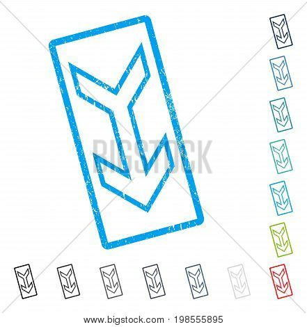 Arrow Down rubber watermark in some color versions.. Vector icon symbol inside rounded rectangle with grunge design and dirty texture. Stamp seal illustration, unclean sticker.