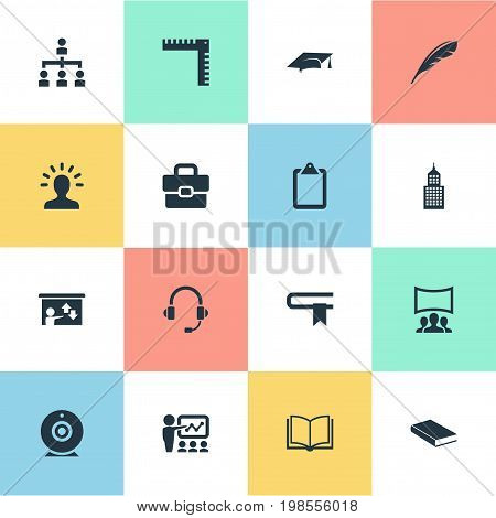 Elements Lecture, Graduation Cap, Guidebook And Other Synonyms Information, Seminar And Document.  Vector Illustration Set Of Simple Training Icons.