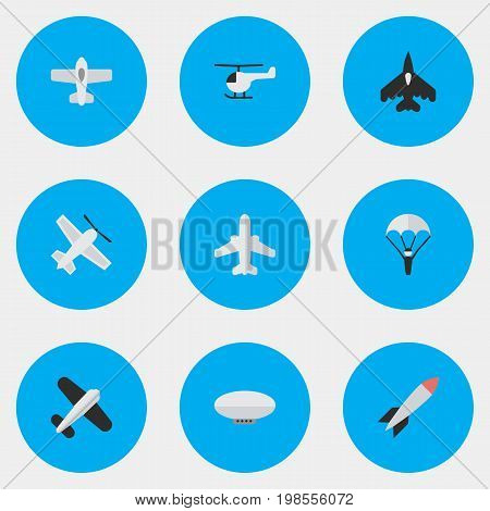 Elements Plane, Balloons, Airliner And Other Synonyms Balloons, Man And Plane.  Vector Illustration Set Of Simple Plane Icons.
