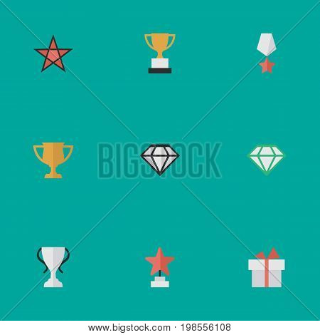 Elements Award, Gemstone, Premium And Other Synonyms Goblet, Present And Award.  Vector Illustration Set Of Simple Reward Icons.