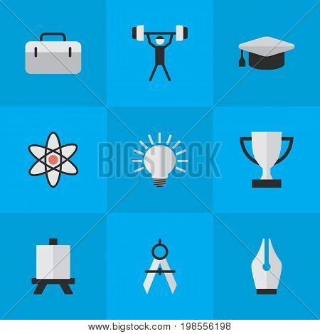 Elements Easel, Bodybuilding, Measurement Dividers And Other Synonyms Molecule, Atom And Handbag.  Vector Illustration Set Of Simple Knowledge Icons.