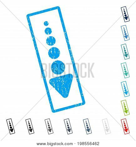 Arrow Down rubber watermark in some color versions.. Vector pictogram symbol inside rounded rectangular frame with grunge design and dust texture. Stamp seal illustration, unclean sign.