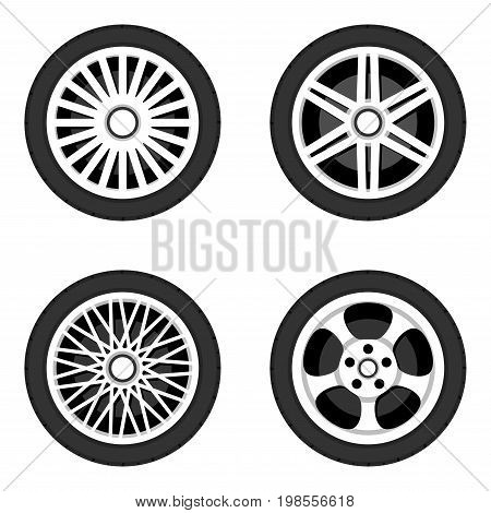 Wheel disk with tyre. Car wheels isolated. Wheels disks icons set. Side view flat style. Vector illustration.