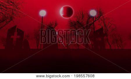 Gloomy Graveyard With Three Tombs On Halloween