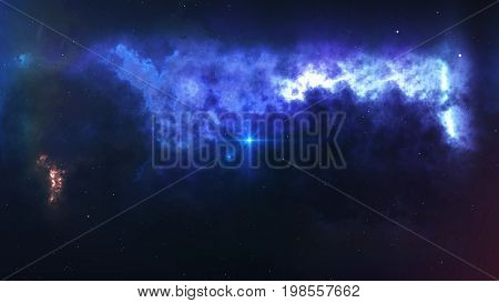 Big Bang With Enigmatic Smoke And Sparkles