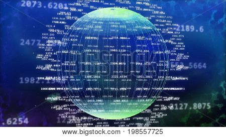 Cyberspace With Curby Longitude Lines And Data