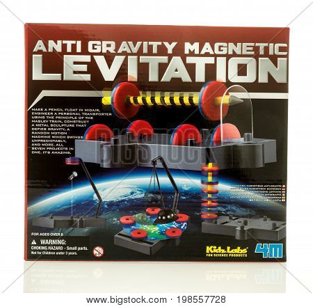 Winneconne WI - 6 August 2017: A box of Anti Gravity Magnetic Levitation by Kidz Labs on an isolated background.