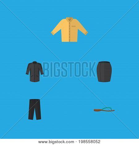 Flat Icon Garment Set Of Beach Sandal, Stylish Apparel, Pants Vector Objects