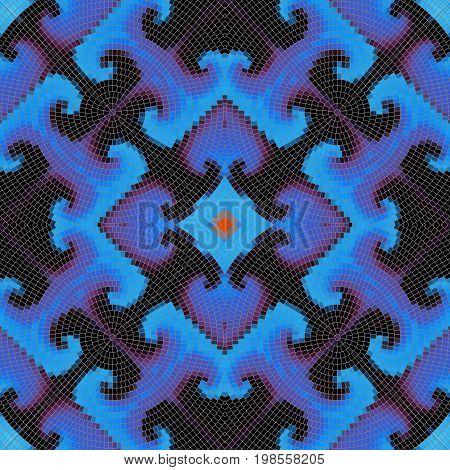 Background pattern. Decorative symmetric mosaic art pattern.
