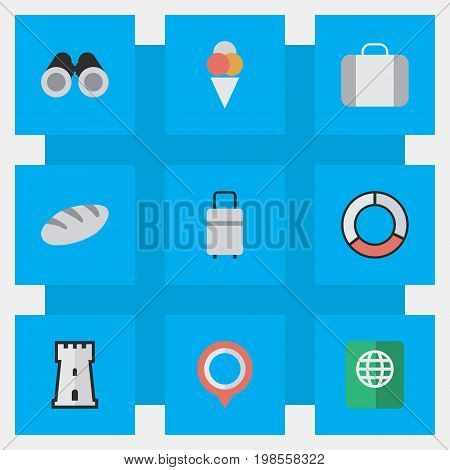 Elements Tower, Bakery, Optical Zoom And Other Synonyms Location, Castle And Suitcase.  Vector Illustration Set Of Simple Travel Icons.