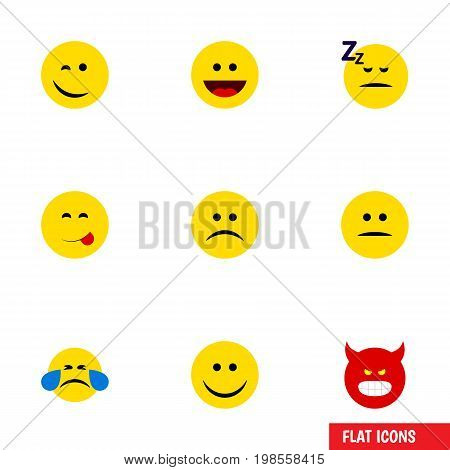Flat Icon Emoji Set Of Sad, Cold Sweat, Joy And Other Vector Objects