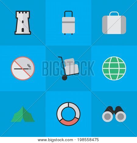 Elements Sea Rescue, Smoke Forbidden, World And Other Synonyms Tent, Cargo And Forbidden.  Vector Illustration Set Of Simple Holiday Icons.