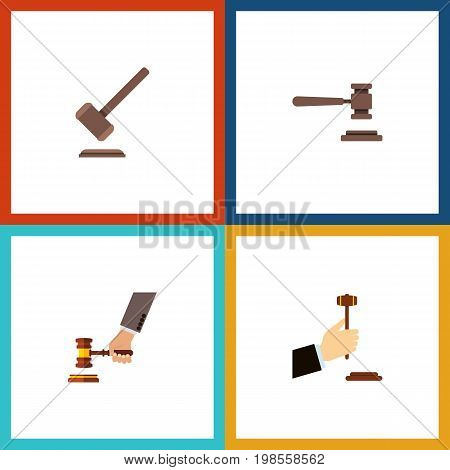Flat Icon Court Set Of Tribunal, Legal, Law And Other Vector Objects