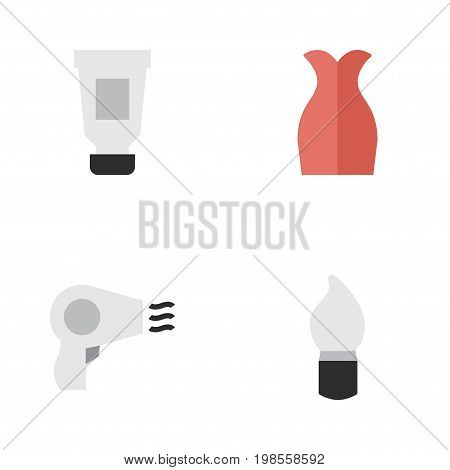 Elements Dress, Scrub, Toothpaste And Other Synonyms Bottle, Scrub And Toothpaste.  Vector Illustration Set Of Simple Beauty Icons.