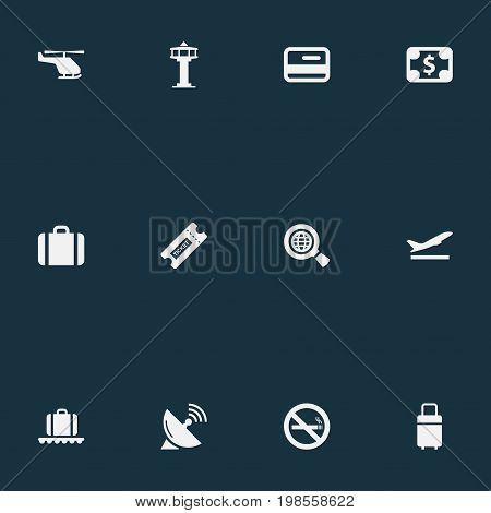 Elements Flight Control Tower, Coupon, Travel Bag And Other Synonyms Case, Baggage And Coupon.  Vector Illustration Set Of Simple Airport Icons.