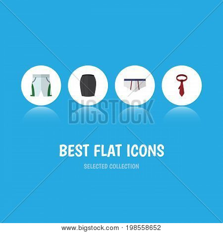 Flat Icon Garment Set Of Trunks Cloth, Stylish Apparel, Underclothes And Other Vector Objects