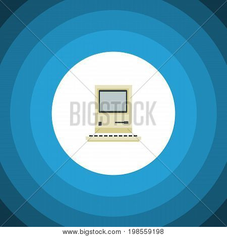 Computing Vector Element Can Be Used For Retro, Computer, Computing Design Concept.  Isolated Retro Notebook Flat Icon.