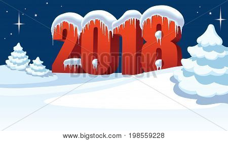 New Year 2018 with snow icicles and ice and Christmas tree on winter white background