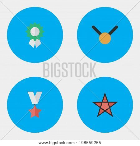 Elements Reward, Trophy, First And Other Synonyms Medal, First And Trophy.  Vector Illustration Set Of Simple Champ Icons.