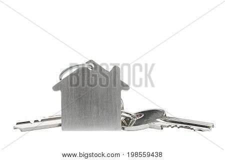 Estate concept, key ring and keys on isolated background