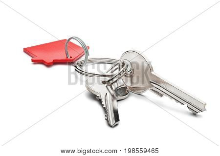 Estate Concept, Red Key Ring  And Keys On Isolated Background