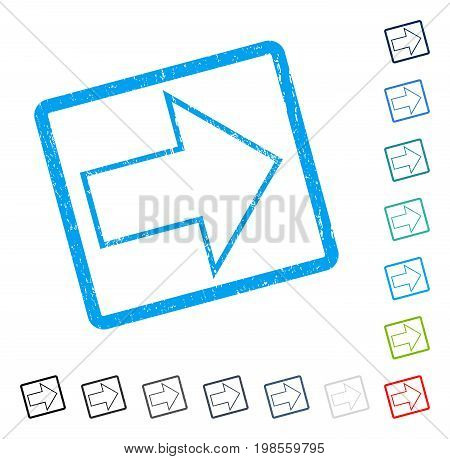 Arrow Right rubber watermark in some color versions.. Vector pictogram symbol inside rounded rectangle with grunge design and scratched texture. Stamp seal illustration, unclean sign.