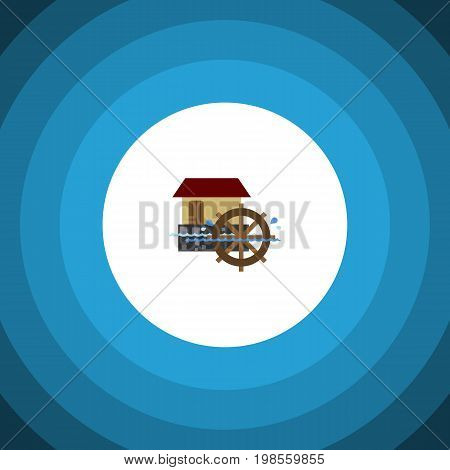 Wheel Vector Element Can Be Used For Watermill, Wheel, Waterwheel Design Concept.  Isolated Watermill Flat Icon.