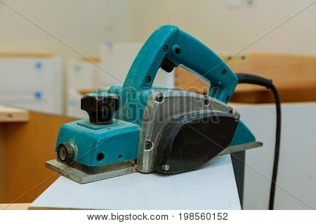 Woodworking Machine With Plane During Processing.
